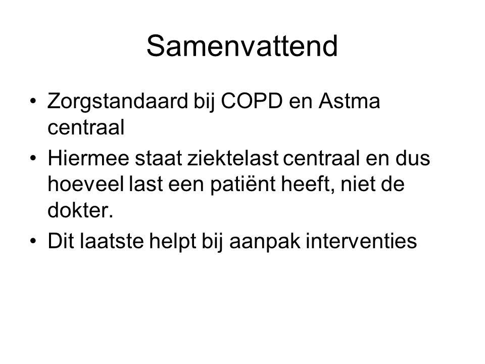 Samenvattend •Zorgstandaard bij COPD en Astma centraal •Hiermee staat ziektelast centraal en dus hoeveel last een patiënt heeft, niet de dokter. •Dit
