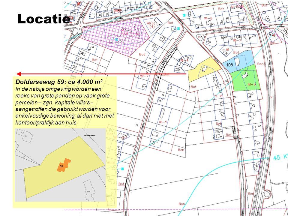 Te koop in de omgeving LocatieVraagprijsWoningtype/VloeroppervlakPrijs/m² Dolderseweg 42: € 1.495.000,- Villa 195m² (terrein 10.000m²)€ 7.687,- Dolderseweg 69A:€ 748.000,- Halfvrijstaand 215m² (terrein 609 m²)€ 3.479,- Dolderseweg 71A: € 850.000,- Bungalow 190m² (terrein 1.328m²)€ 4.474,- Dolderseweg 106: € 1.495.000,- Villa 400m² (terrein 6.000m²)€ 3.738,- Dolderseweg 108: € 1.895.000,- Villa 675m² (terrein 4.800m²)€ 2.807,- Dolderseweg 120: € 1.795.000,- Villa330m² (terrein 4.000m²)€ 5.439,- Dolderseweg 128: € 1.139.000,- Villa 243m² € 4.687,- Gemiddelde Dolderseweg€ 4.615,- Hertenlaan West 42: € 595.000,- Vrijstaande woning 105m² € 5.667,- Hertenlaan 37: € 825.000,- Vrijstaande woning 265m² € 3.113,- Hertenlaan 35: € 1.350.000,- Villa 220m² € 6.136,- Gemiddelde Hertenlaan€ 4.972,-
