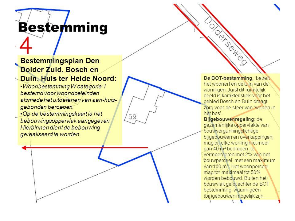 Bestemming Bestemmingsplan Den Dolder Zuid, Bosch en Duin, Huis ter Heide Noord: •Woonbestemming W categorie 1 bestemd voor woondoeleinden alsmede het