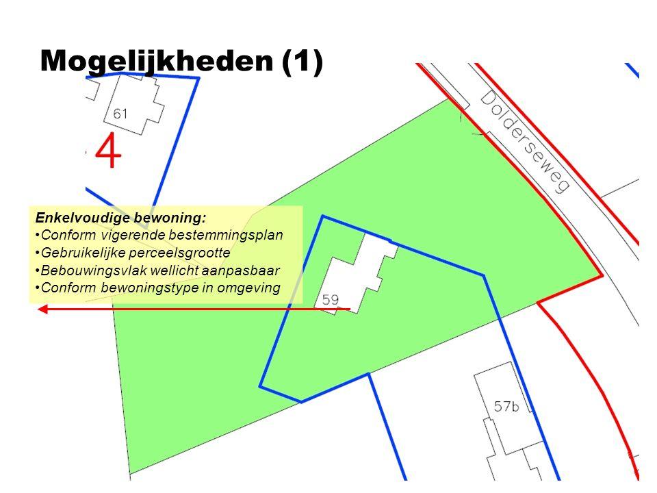 Mogelijkheden (1) Enkelvoudige bewoning: •Conform vigerende bestemmingsplan •Gebruikelijke perceelsgrootte •Bebouwingsvlak wellicht aanpasbaar •Confor