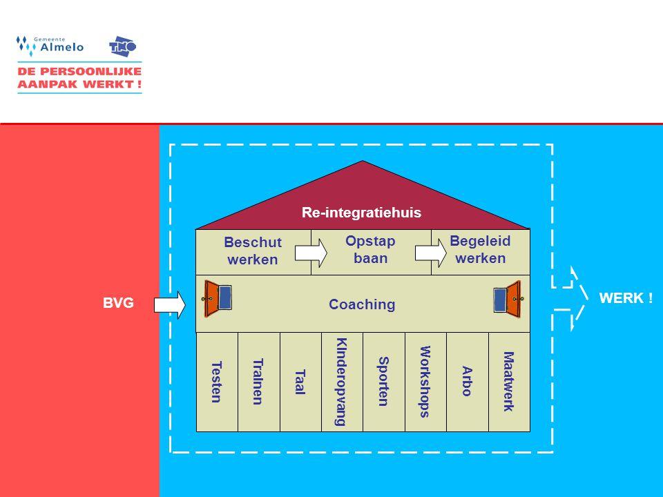 10 Begeleid werken Opstap baan Beschut werken Re-integratiehuis Coaching BVG Testen Trainen Taal Kinderopvang Sporten Arbo WERK ! Workshops Maatwerk