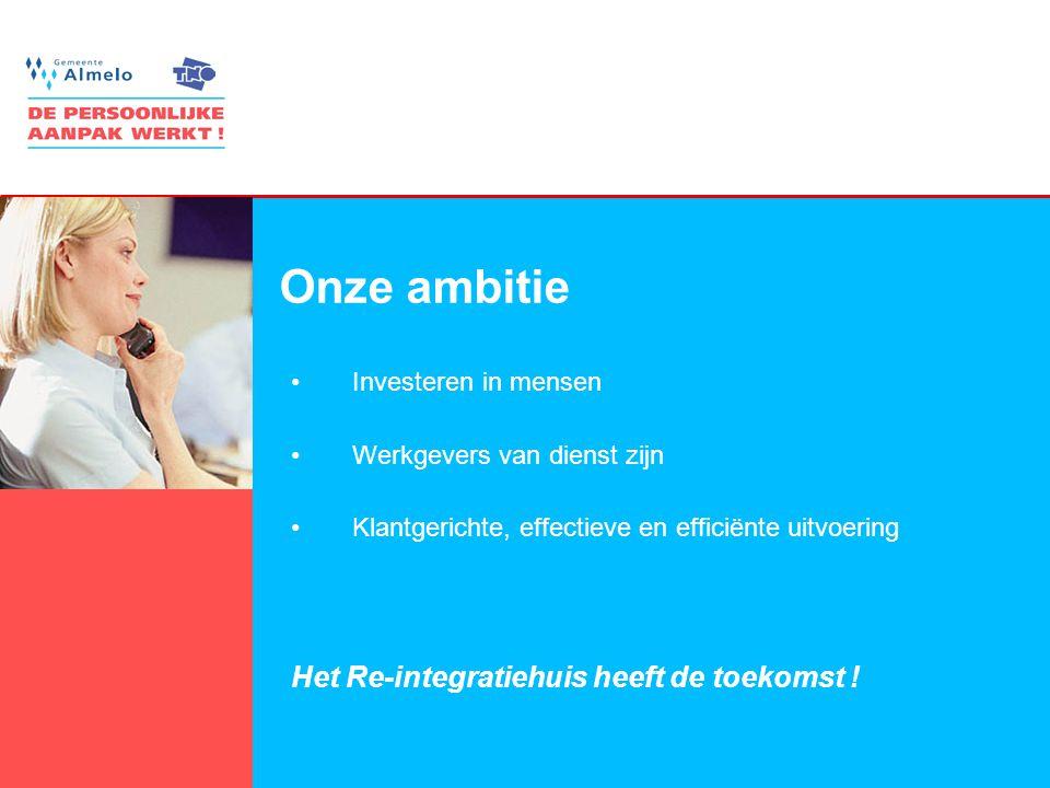 12 Onze ambitie •Investeren in mensen •Werkgevers van dienst zijn •Klantgerichte, effectieve en efficiënte uitvoering Het Re-integratiehuis heeft de t