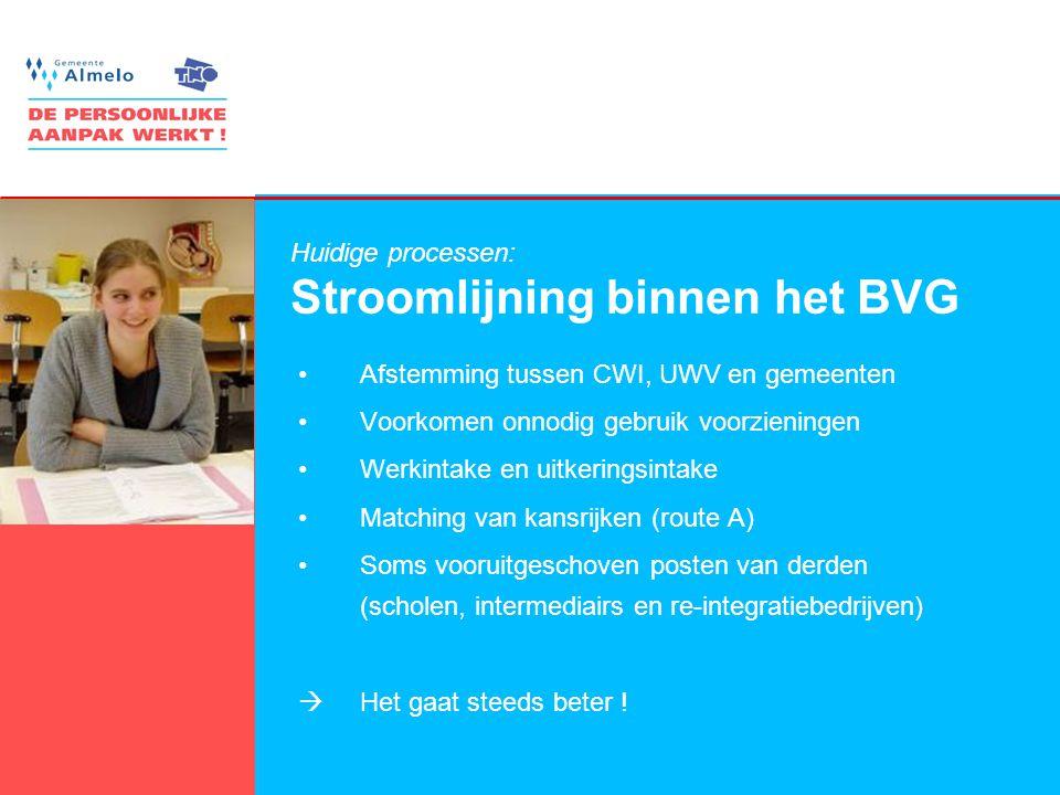 4 Huidige processen: Stroomlijning binnen het BVG •Afstemming tussen CWI, UWV en gemeenten •Voorkomen onnodig gebruik voorzieningen •Werkintake en uit