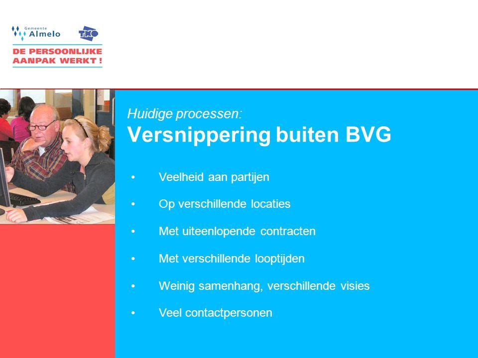 5 Huidige processen: Versnippering buiten BVG •Veelheid aan partijen •Op verschillende locaties •Met uiteenlopende contracten •Met verschillende loopt