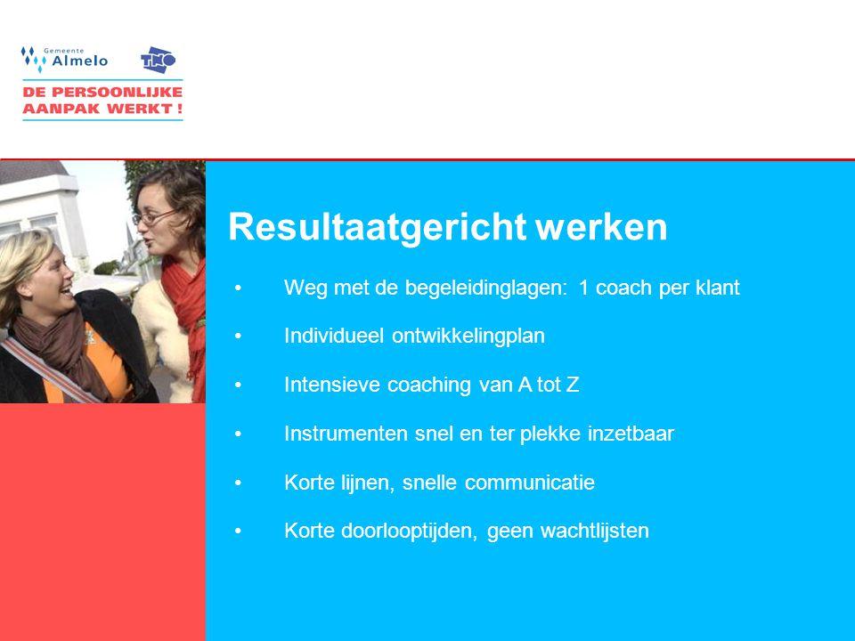 9 Resultaatgericht werken •Weg met de begeleidinglagen: 1 coach per klant •Individueel ontwikkelingplan •Intensieve coaching van A tot Z •Instrumenten