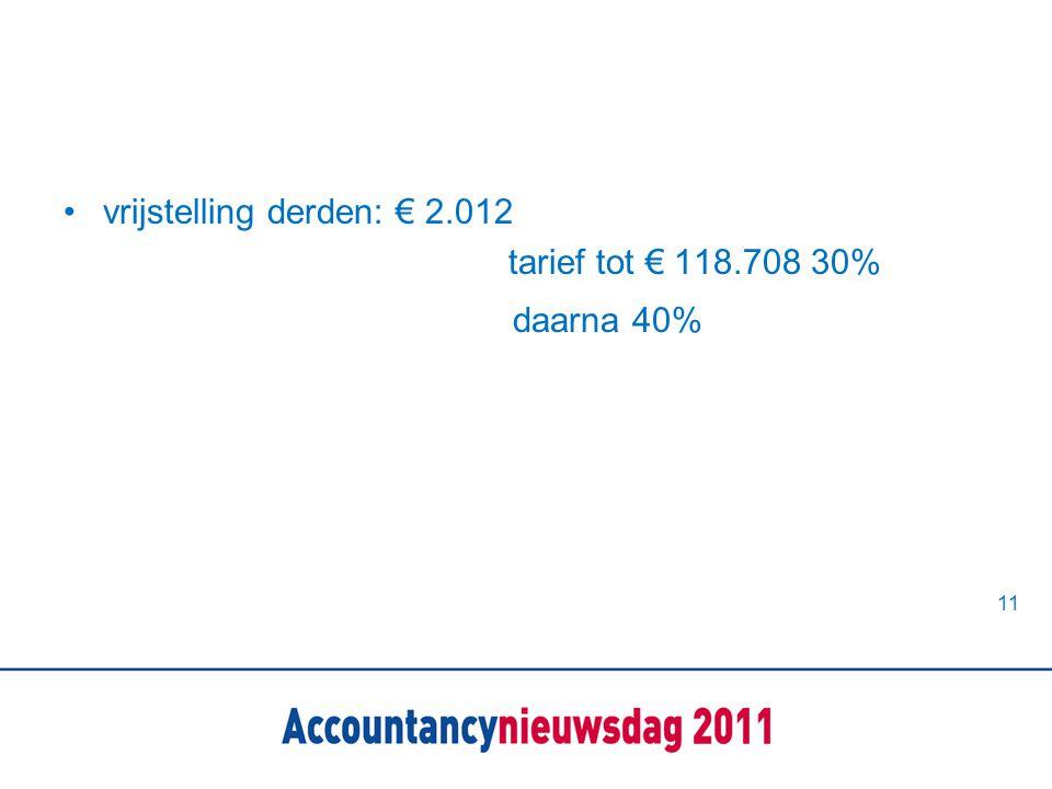 •vrijstelling derden: € 2.012 tarief tot € 118.708 30% daarna 40% 11