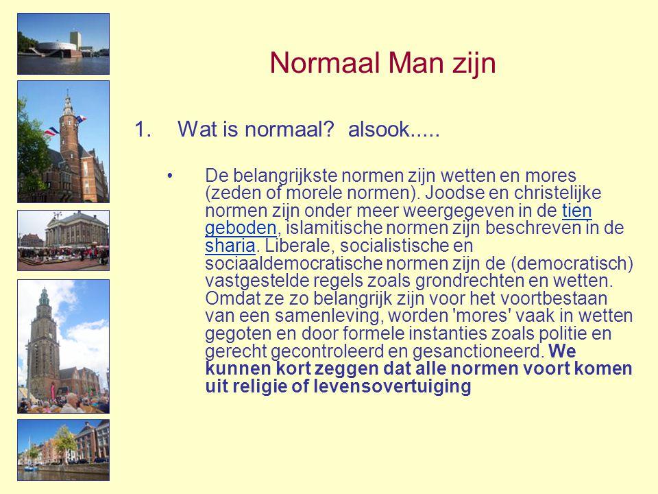 Normaal Man zijn 1.Wat is normaal? alsook..... •De belangrijkste normen zijn wetten en mores (zeden of morele normen). Joodse en christelijke normen z