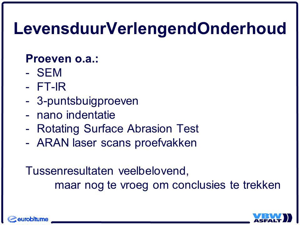 Proeven o.a.: -SEM -FT-IR -3-puntsbuigproeven -nano indentatie -Rotating Surface Abrasion Test -ARAN laser scans proefvakken Tussenresultaten veelbelo