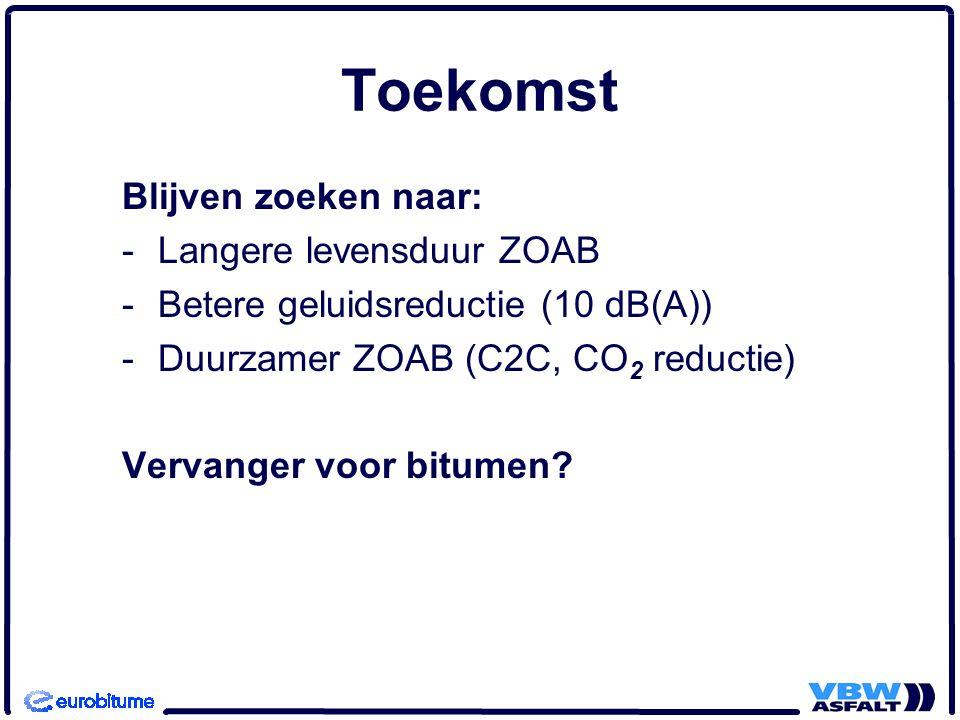 Toekomst Blijven zoeken naar: -Langere levensduur ZOAB -Betere geluidsreductie (10 dB(A)) -Duurzamer ZOAB (C2C, CO 2 reductie) Vervanger voor bitumen?