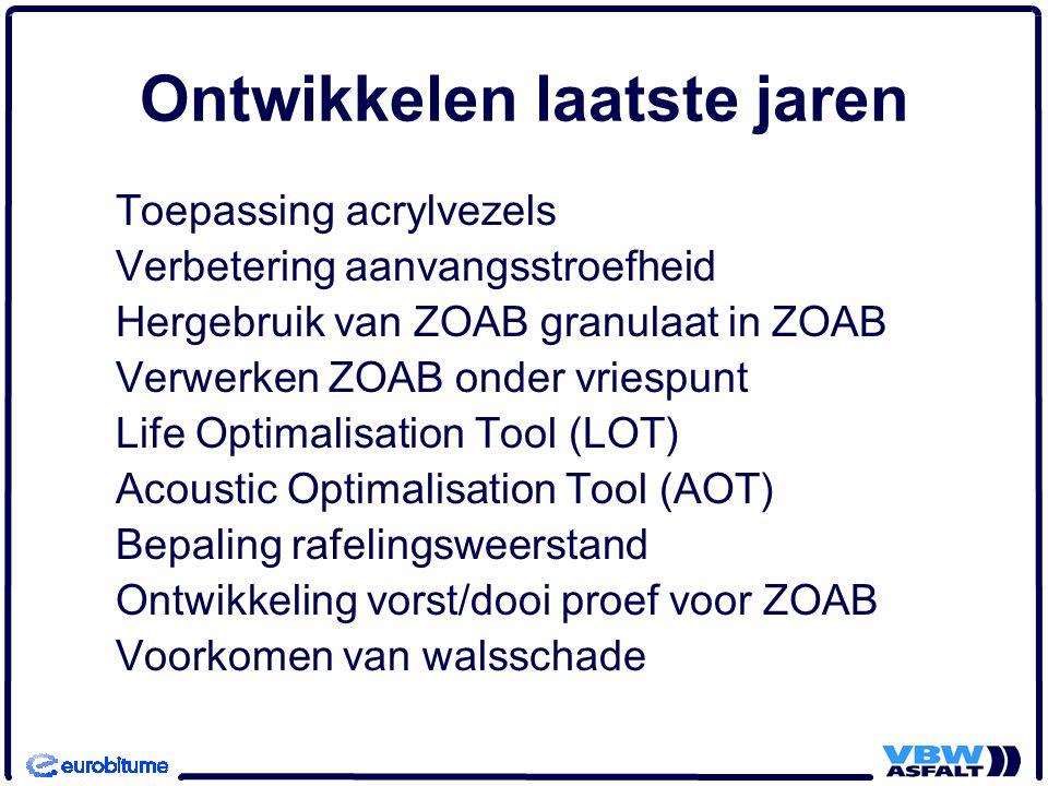 Ontwikkelen laatste jaren Toepassing acrylvezels Verbetering aanvangsstroefheid Hergebruik van ZOAB granulaat in ZOAB Verwerken ZOAB onder vriespunt L