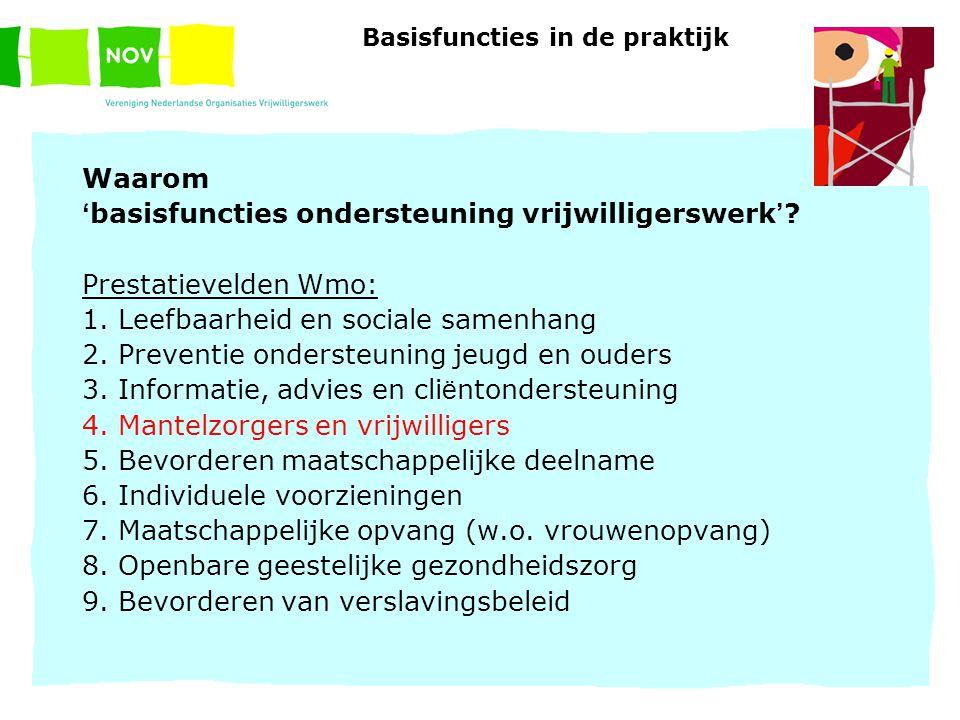 Basisfuncties in de praktijk Waarom ' basisfuncties ondersteuning vrijwilligerswerk ' ? Prestatievelden Wmo: 1. Leefbaarheid en sociale samenhang 2. P