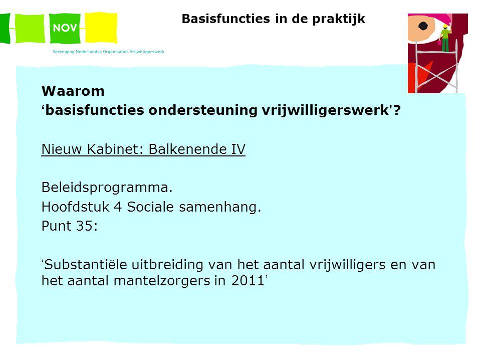 Basisfuncties in de praktijk Waarom ' basisfuncties ondersteuning vrijwilligerswerk ' ? Nieuw Kabinet: Balkenende IV Beleidsprogramma. Hoofdstuk 4 Soc