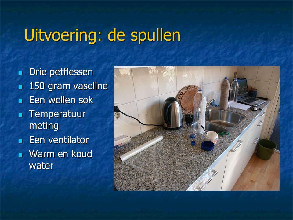 Uitvoering: de spullen  Drie petflessen  150 gram vaseline  Een wollen sok  Temperatuur meting  Een ventilator  Warm en koud water