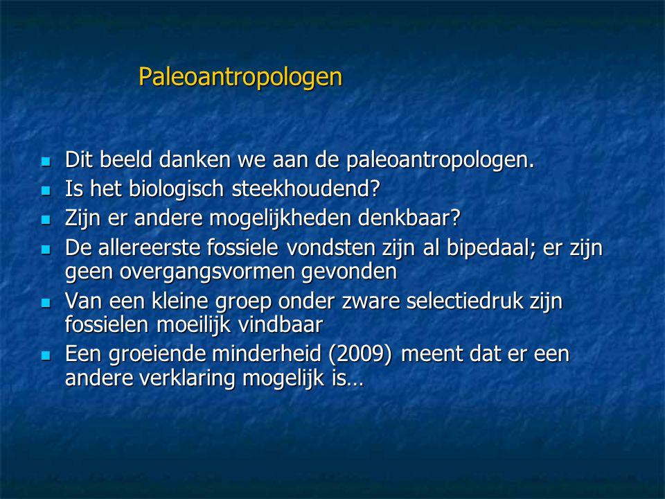 Paleoantropologen  Dit beeld danken we aan de paleoantropologen.  Is het biologisch steekhoudend?  Zijn er andere mogelijkheden denkbaar?  De alle