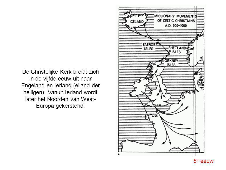 De Christelijke Kerk breidt zich in de vijfde eeuw uit naar Engeland en Ierland (eiland der heiligen). Vanuit Ierland wordt later het Noorden van West