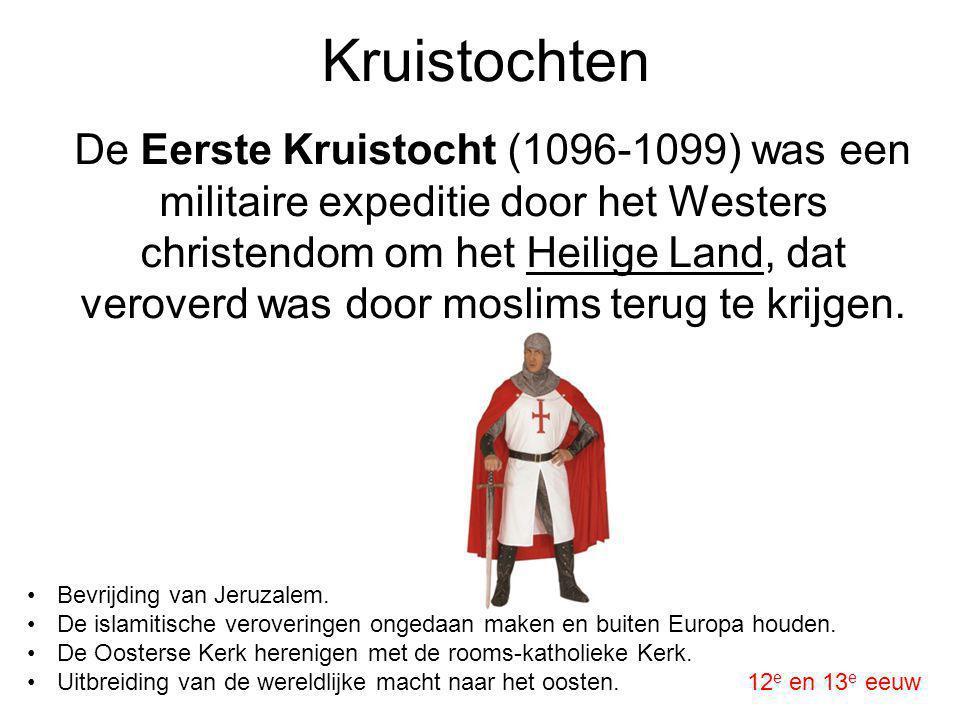 Kruistochten De Eerste Kruistocht (1096-1099) was een militaire expeditie door het Westers christendom om het Heilige Land, dat veroverd was door mosl