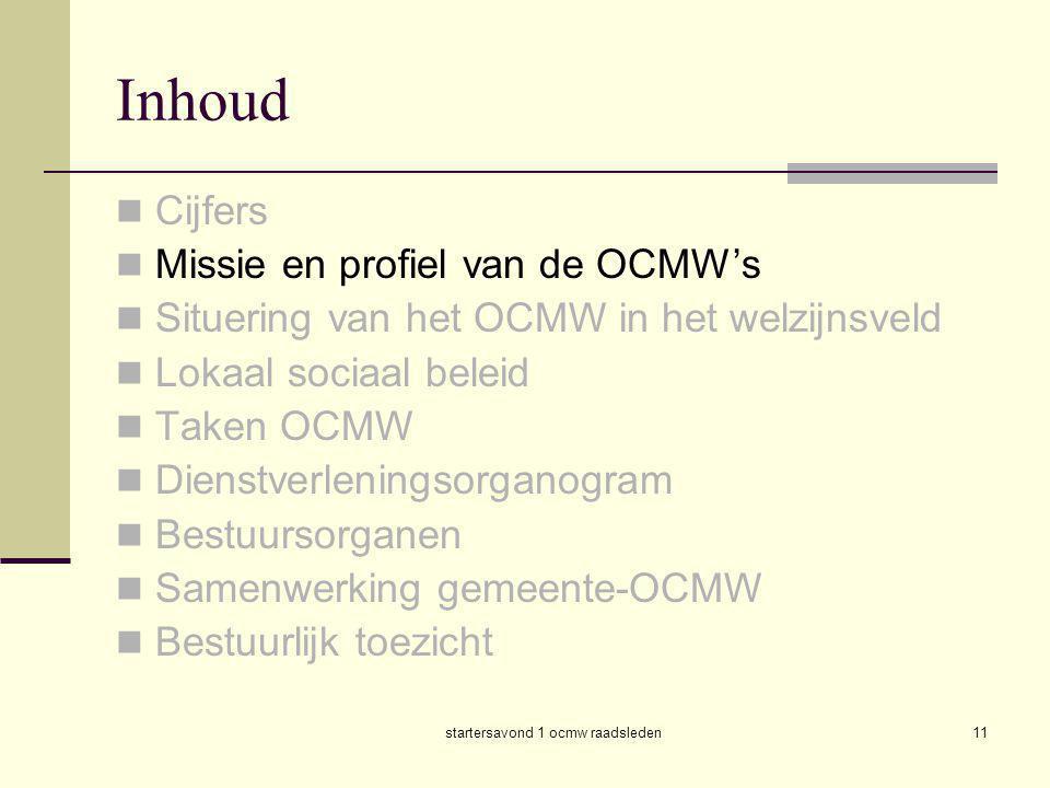 startersavond 1 ocmw raadsleden11 Inhoud  Cijfers  Missie en profiel van de OCMW's  Situering van het OCMW in het welzijnsveld  Lokaal sociaal bel