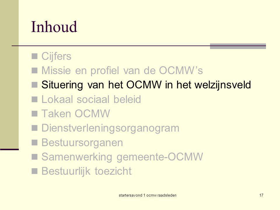 startersavond 1 ocmw raadsleden17 Inhoud  Cijfers  Missie en profiel van de OCMW's  Situering van het OCMW in het welzijnsveld  Lokaal sociaal bel
