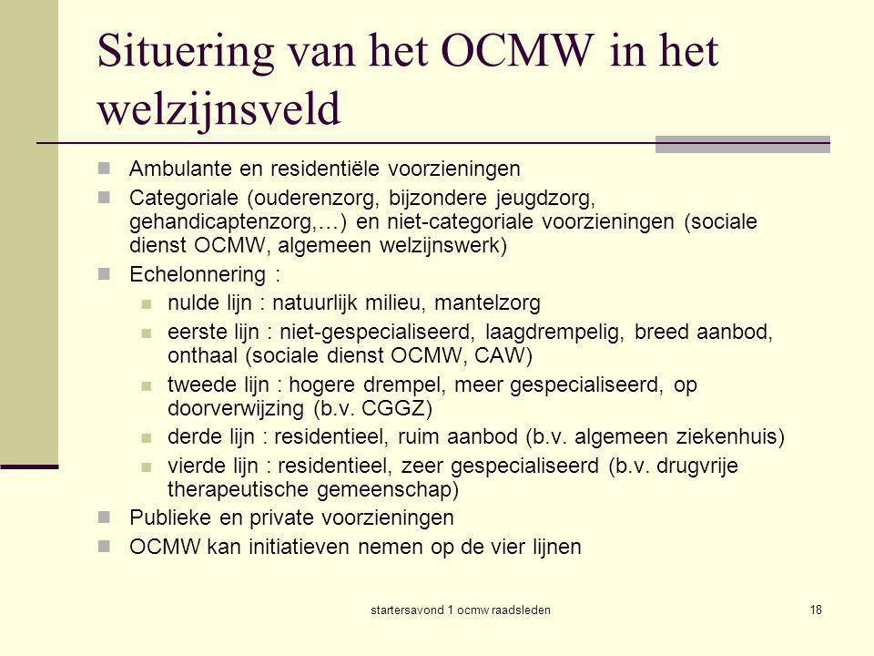 startersavond 1 ocmw raadsleden18 Situering van het OCMW in het welzijnsveld  Ambulante en residentiële voorzieningen  Categoriale (ouderenzorg, bij
