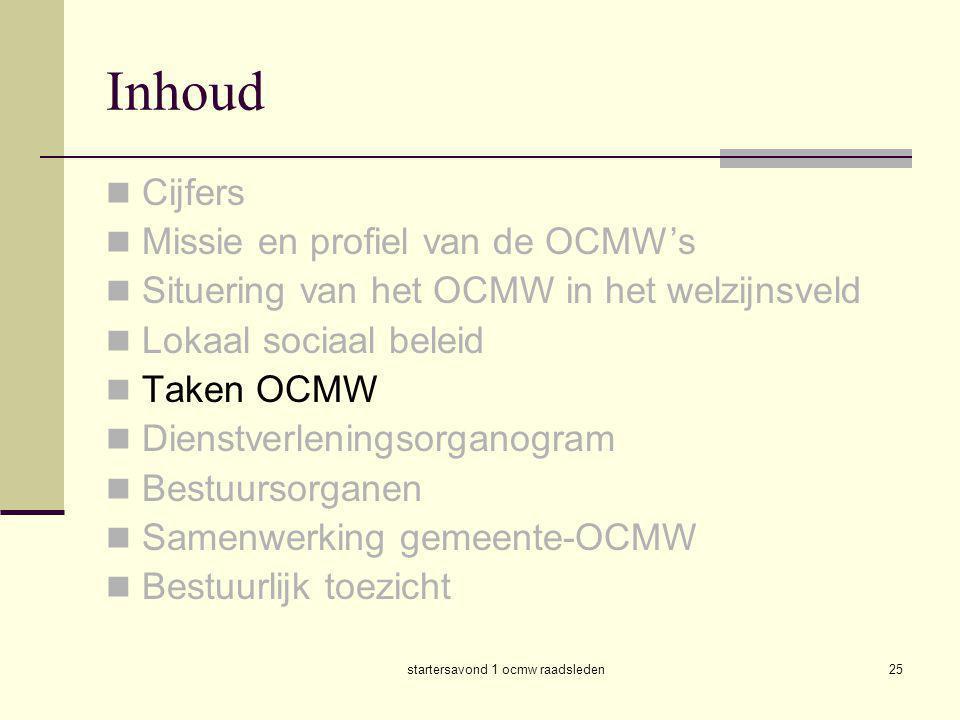 startersavond 1 ocmw raadsleden25 Inhoud  Cijfers  Missie en profiel van de OCMW's  Situering van het OCMW in het welzijnsveld  Lokaal sociaal bel