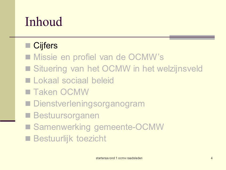 startersavond 1 ocmw raadsleden4 Inhoud  Cijfers  Missie en profiel van de OCMW's  Situering van het OCMW in het welzijnsveld  Lokaal sociaal bele