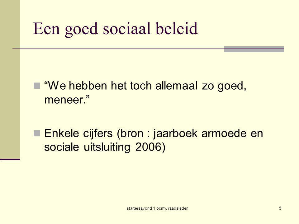 startersavond 1 ocmw raadsleden6  In 2004 leefde in Vlaanderen 11,3 % van de bevolking onder de armoedegrens.