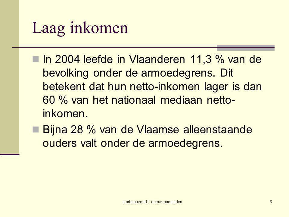 startersavond 1 ocmw raadsleden6  In 2004 leefde in Vlaanderen 11,3 % van de bevolking onder de armoedegrens. Dit betekent dat hun netto-inkomen lage