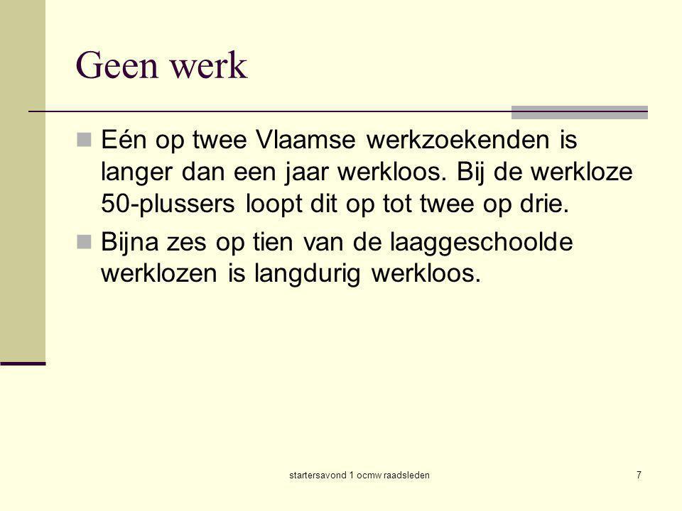 startersavond 1 ocmw raadsleden7 Geen werk  Eén op twee Vlaamse werkzoekenden is langer dan een jaar werkloos. Bij de werkloze 50-plussers loopt dit