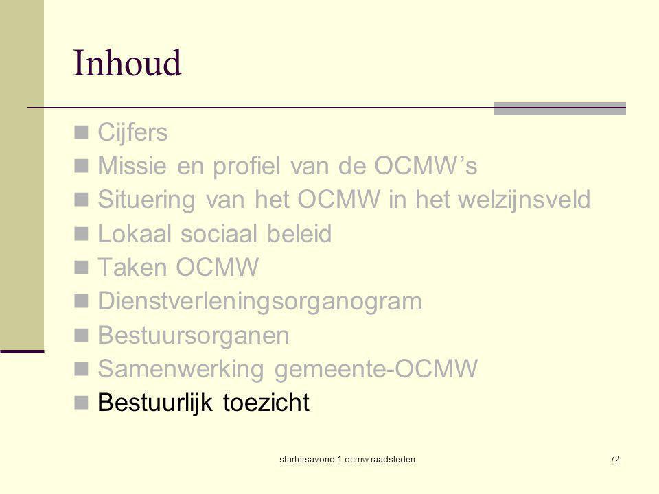 startersavond 1 ocmw raadsleden72 Inhoud  Cijfers  Missie en profiel van de OCMW's  Situering van het OCMW in het welzijnsveld  Lokaal sociaal bel