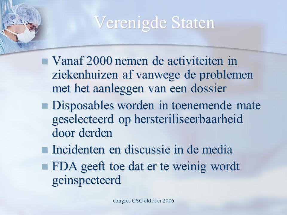 congres CSC oktober 2006 Verenigde Staten  Vanaf 2000 nemen de activiteiten in ziekenhuizen af vanwege de problemen met het aanleggen van een dossier  Disposables worden in toenemende mate geselecteerd op hersteriliseerbaarheid door derden  Incidenten en discussie in de media  FDA geeft toe dat er te weinig wordt geinspecteerd