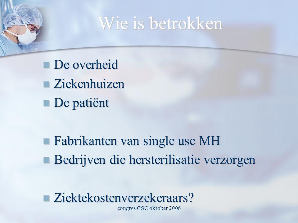 Wie is betrokken  De overheid  Ziekenhuizen  De patiënt  Fabrikanten van single use MH  Bedrijven die hersterilisatie verzorgen  Ziektekostenverzekeraars