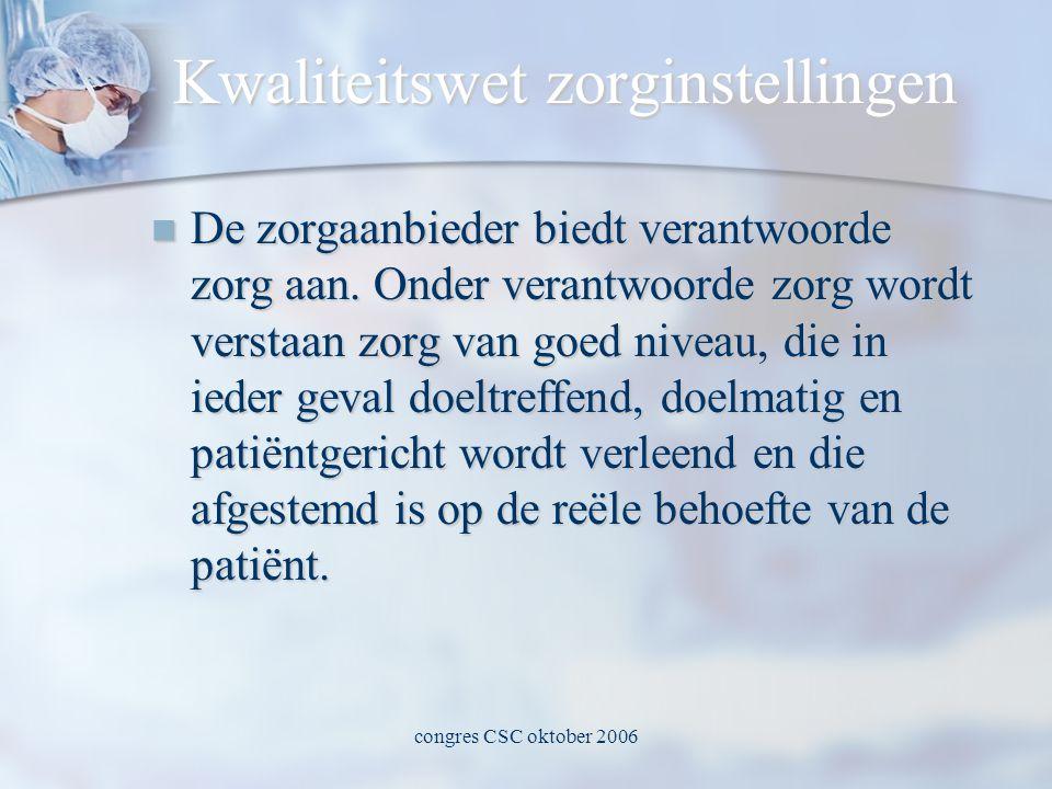 congres CSC oktober 2006 Kwaliteitswet zorginstellingen  De zorgaanbieder biedt verantwoorde zorg aan.