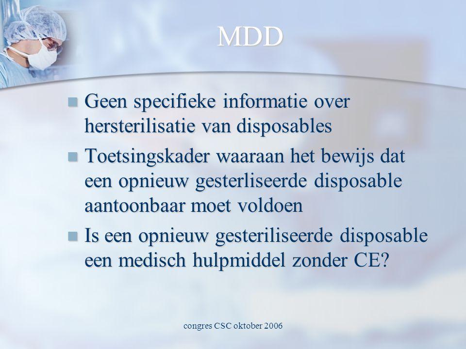 congres CSC oktober 2006 MDD  Geen specifieke informatie over hersterilisatie van disposables  Toetsingskader waaraan het bewijs dat een opnieuw gesterliseerde disposable aantoonbaar moet voldoen  Is een opnieuw gesteriliseerde disposable een medisch hulpmiddel zonder CE