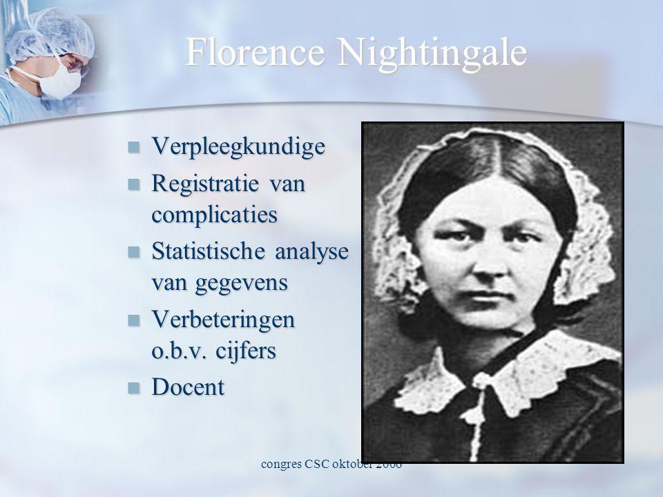 congres CSC oktober 2006 Florence Nightingale  Verpleegkundige  Registratie van complicaties  Statistische analyse van gegevens  Verbeteringen o.b.v.