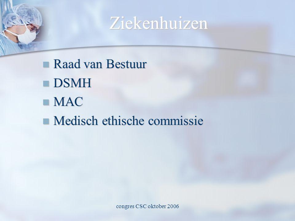 congres CSC oktober 2006 Ziekenhuizen  Raad van Bestuur  DSMH  MAC  Medisch ethische commissie
