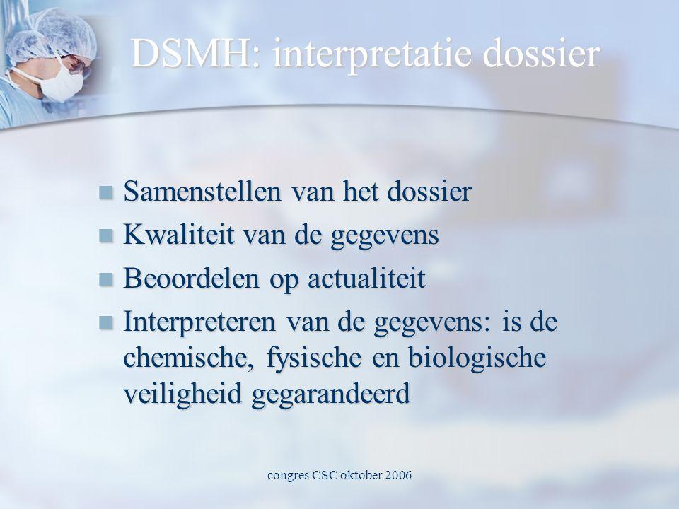congres CSC oktober 2006 DSMH: interpretatie dossier  Samenstellen van het dossier  Kwaliteit van de gegevens  Beoordelen op actualiteit  Interpreteren van de gegevens: is de chemische, fysische en biologische veiligheid gegarandeerd