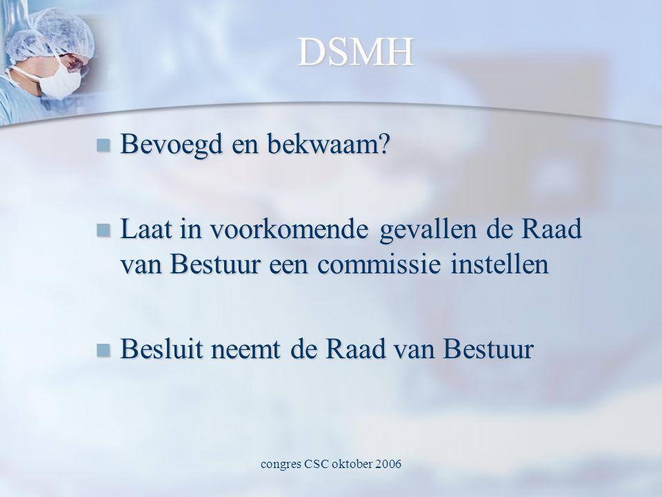 congres CSC oktober 2006 DSMH  Bevoegd en bekwaam.