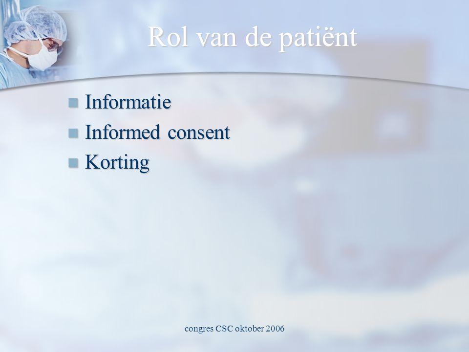 congres CSC oktober 2006 Rol van de patiënt  Informatie  Informed consent  Korting