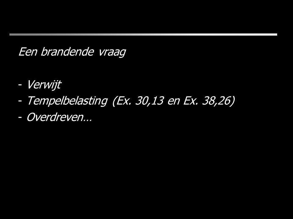 Een brandende vraag - Verwijt - Tempelbelasting (Ex. 30,13 en Ex. 38,26) - Overdreven…