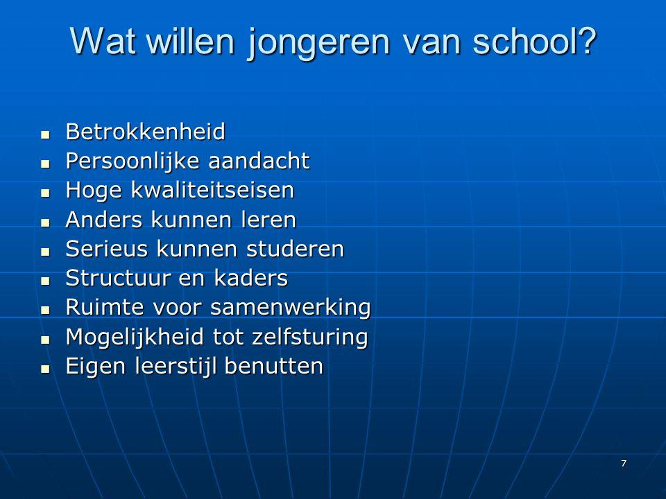 7 Wat willen jongeren van school? BBBBetrokkenheid PPPPersoonlijke aandacht HHHHoge kwaliteitseisen AAAAnders kunnen leren SSSSeri