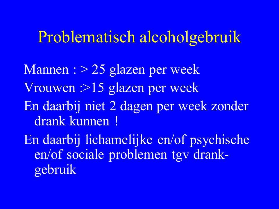 Problematisch alcoholgebruik Mannen : > 25 glazen per week Vrouwen :>15 glazen per week En daarbij niet 2 dagen per week zonder drank kunnen .
