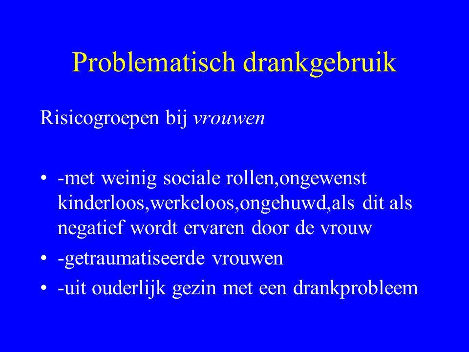 Problematisch drankgebruik Risicogroepen bij mannen •-alleenstaande/gescheiden mannen •-werkelozen of werkzaam in horeca •-vertegenwoordigers,zakenlui,journalisten •-vluchtelingen met traumatische ervaringen