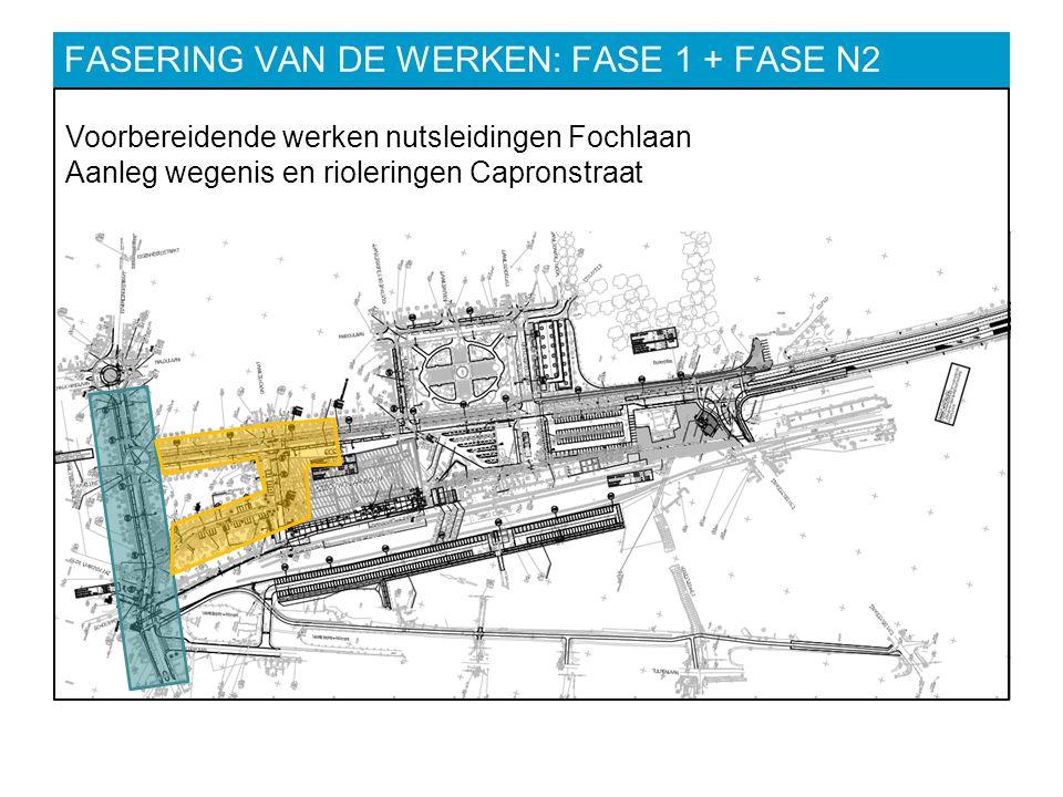 FASERING VAN DE WERKEN: FASE 1 + FASE N2 Voorbereidende werken nutsleidingen Fochlaan Aanleg wegenis en rioleringen Capronstraat