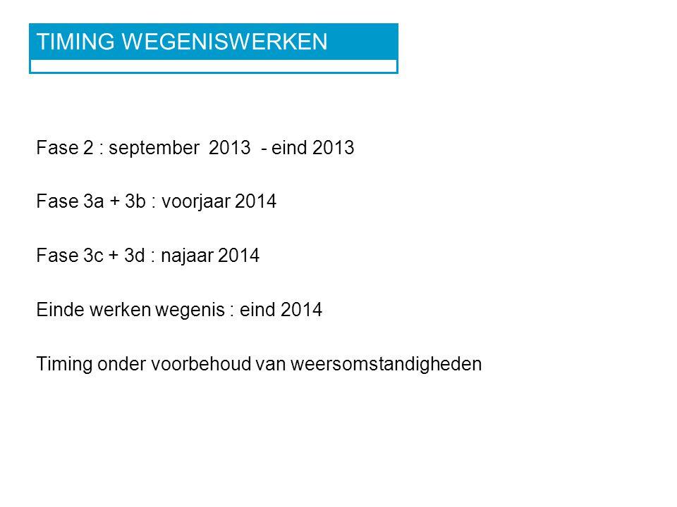 TIMING WEGENISWERKEN Fase 2 : september 2013 - eind 2013 Fase 3a + 3b : voorjaar 2014 Fase 3c + 3d : najaar 2014 Einde werken wegenis : eind 2014 Timing onder voorbehoud van weersomstandigheden