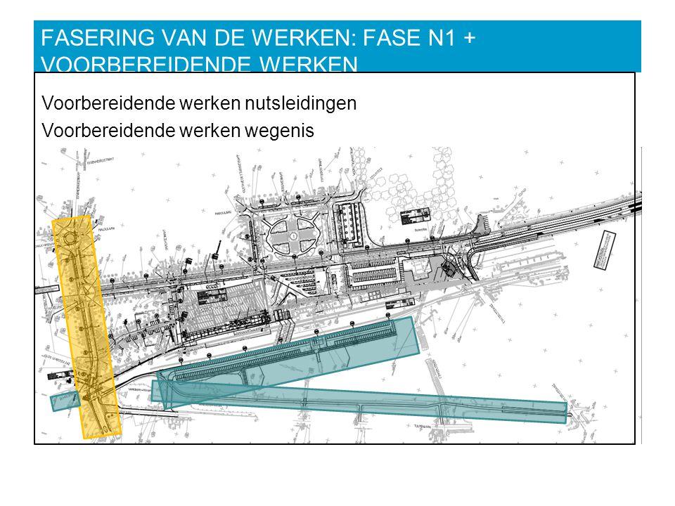 FASERING VAN DE WERKEN: FASE N1 + VOORBEREIDENDE WERKEN Voorbereidende werken nutsleidingen Voorbereidende werken wegenis