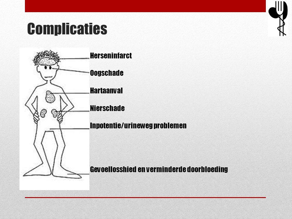 Complicaties Herseninfarct Oogschade Hartaanval Nierschade Inpotentie/urineweg problemen Gevoellosshied en verminderde doorbloeding