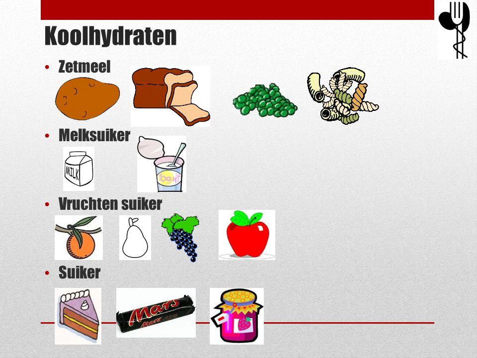 Koolhydraten • Zetmeel • Melksuiker • Vruchten suiker • Suiker