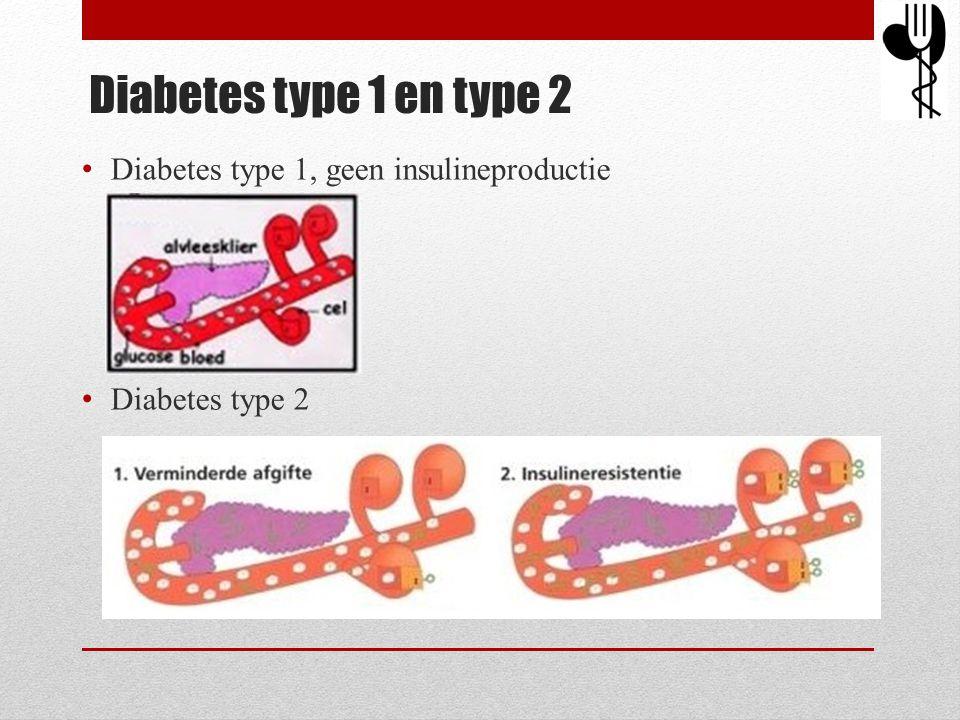 Diabetes type 1 en type 2 • Diabetes type 1, geen insulineproductie • Diabetes type 2