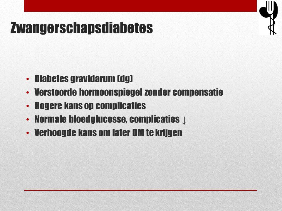 • Diabetes gravidarum (dg) • Verstoorde hormoonspiegel zonder compensatie • Hogere kans op complicaties • Normale bloedglucosse, complicaties ↓ • Verh