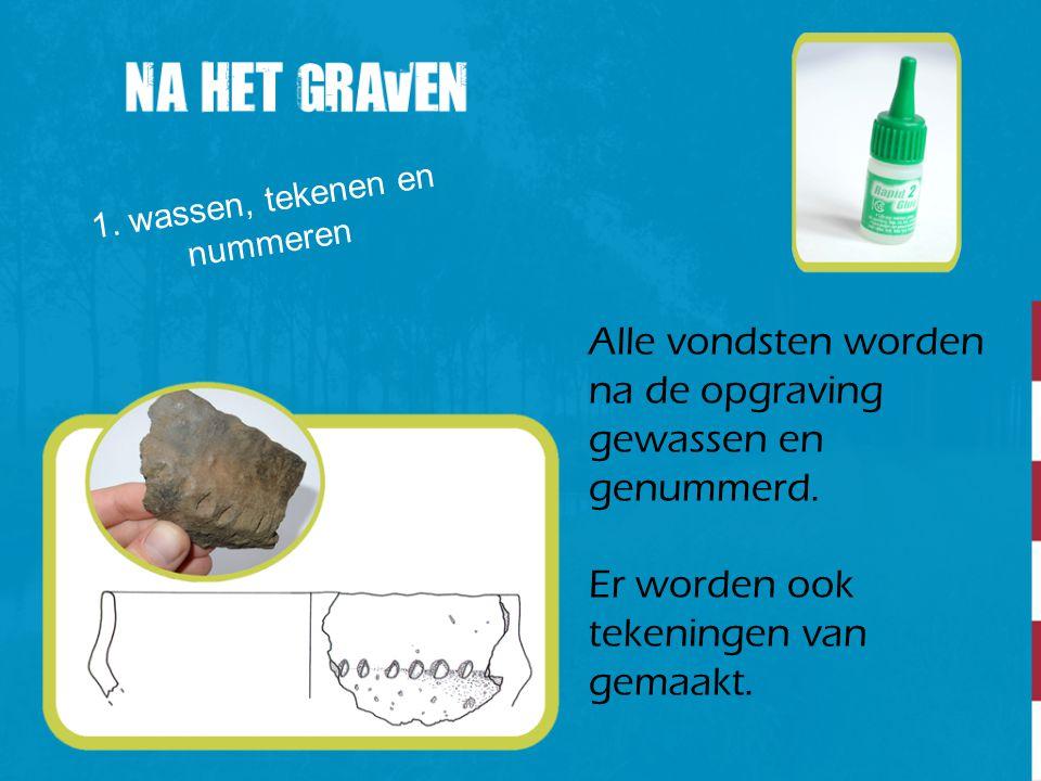 1. wassen, tekenen en nummeren Alle vondsten worden na de opgraving gewassen en genummerd. Er worden ook tekeningen van gemaakt.